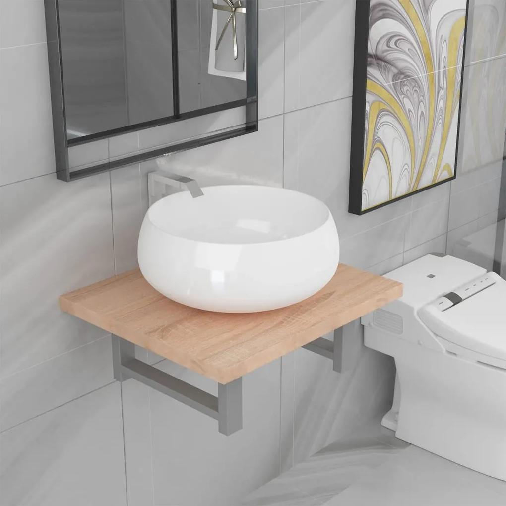 279314 vidaXL Set mobilier de baie din două piese, stejar, ceramică