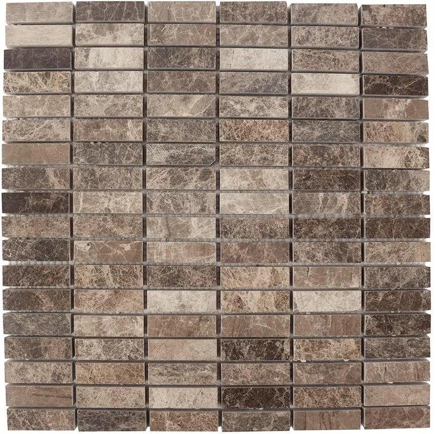 Mozaic Marmura Dark Emperador Polisata 4.8 x 1.5 cm