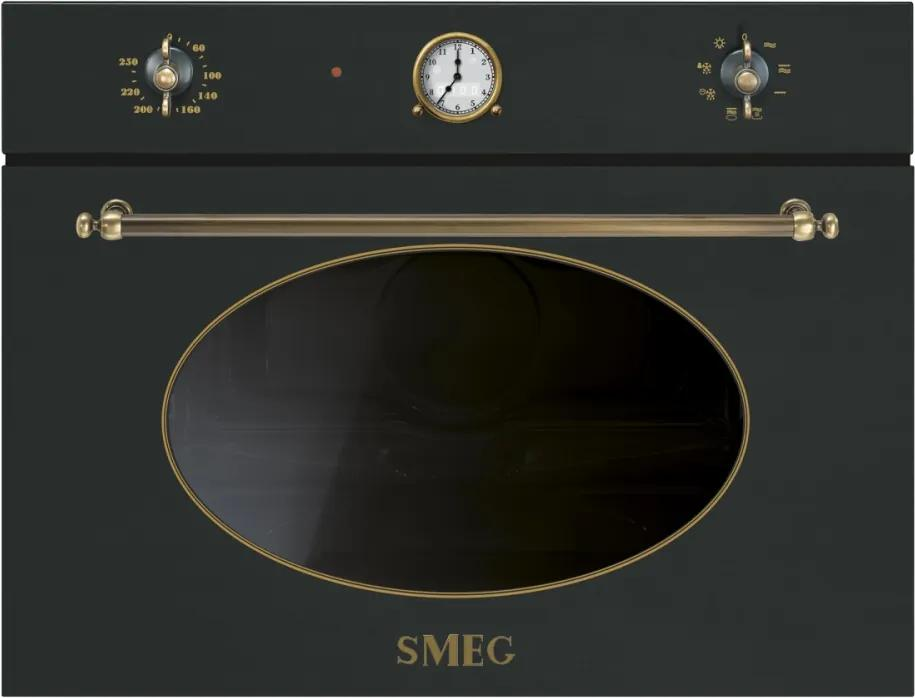 Cuptor incorporabil compact cu microunde Smeg Colonial SF4800MAO, antracit cu estetica alama, 60 cm, retro