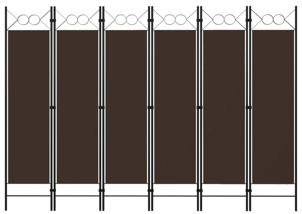 320712 vidaXL Paravan de cameră cu 6 panouri, maro, 240 x 180 cm