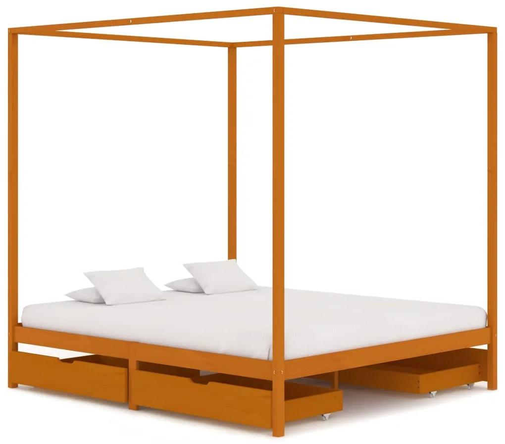 3060545 vidaXL Cadru pat cu baldachin, 4 sertare, 180x200 cm, lemn masiv pin