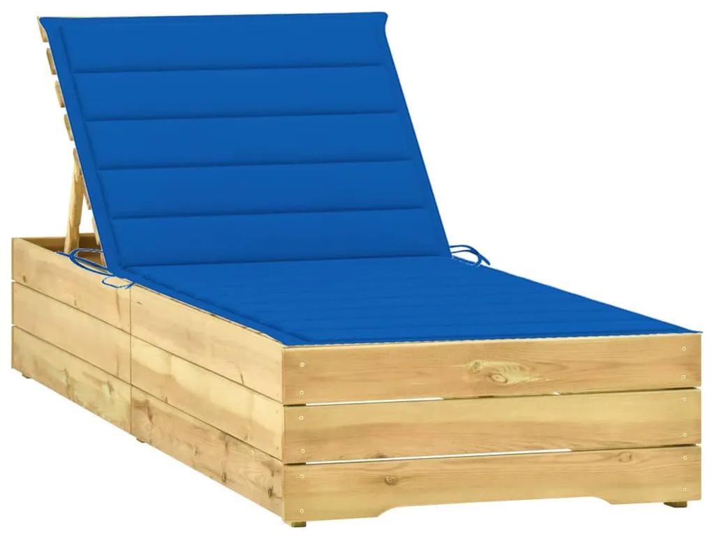 3065919 vidaXL Șezlong cu pernă albastru regal, lemn de pin tratat