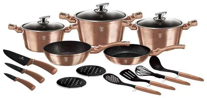 Set oale marmorate 17 piese Rose Gold Berlinger Haus BH 6161