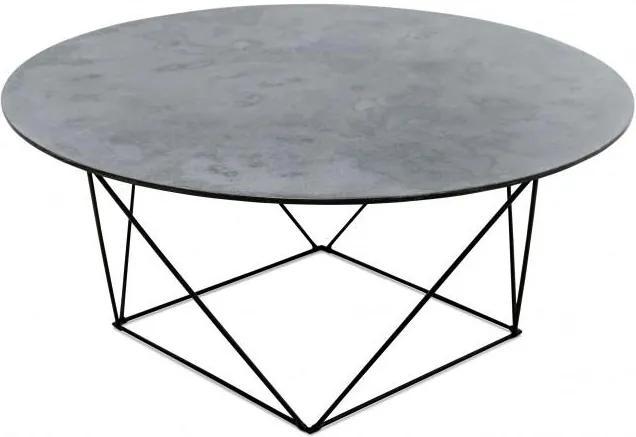 Masa gri din metal si MDF 90 cm pentru cafea Trapeze