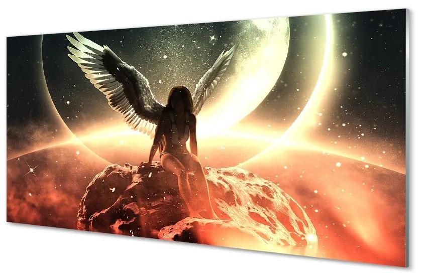 Tablouri pe sticlă aripi de sex feminin luna meteorit