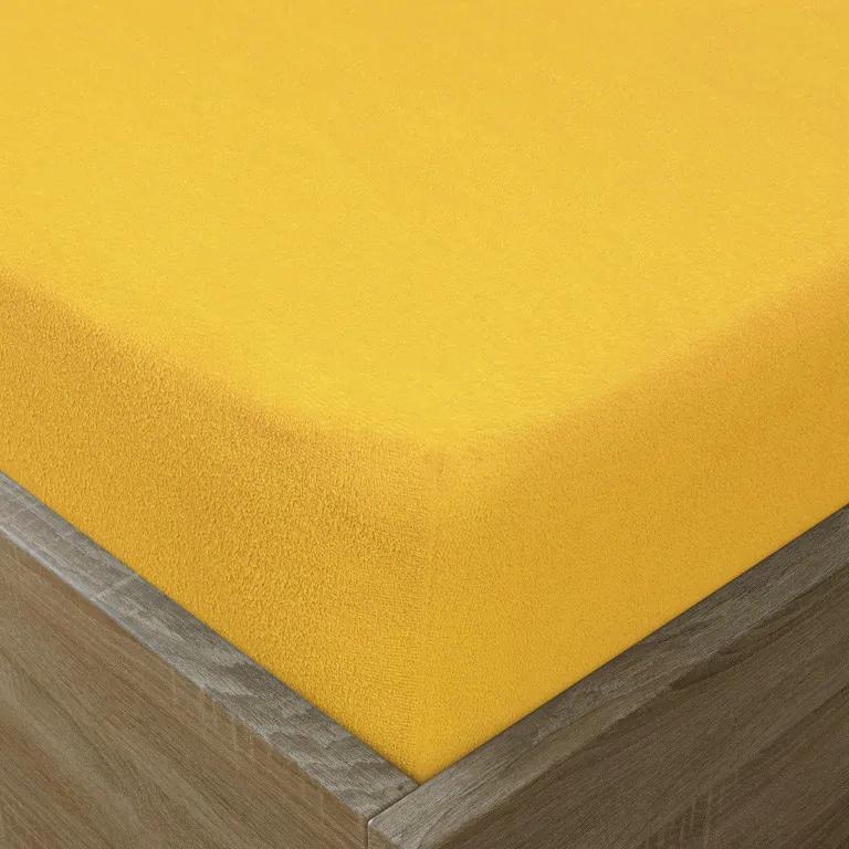 Goldea cearceafuri de pat din terry cu elastic - galben 180 x 200 cm