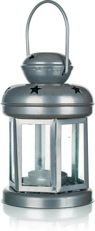 Felinar din tablă rotundă pentru o lumânare de ceai argintie 16 cm