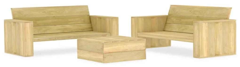 3053199 vidaXL Set mobilier de grădină, 3 piese, lemn de pin tratat