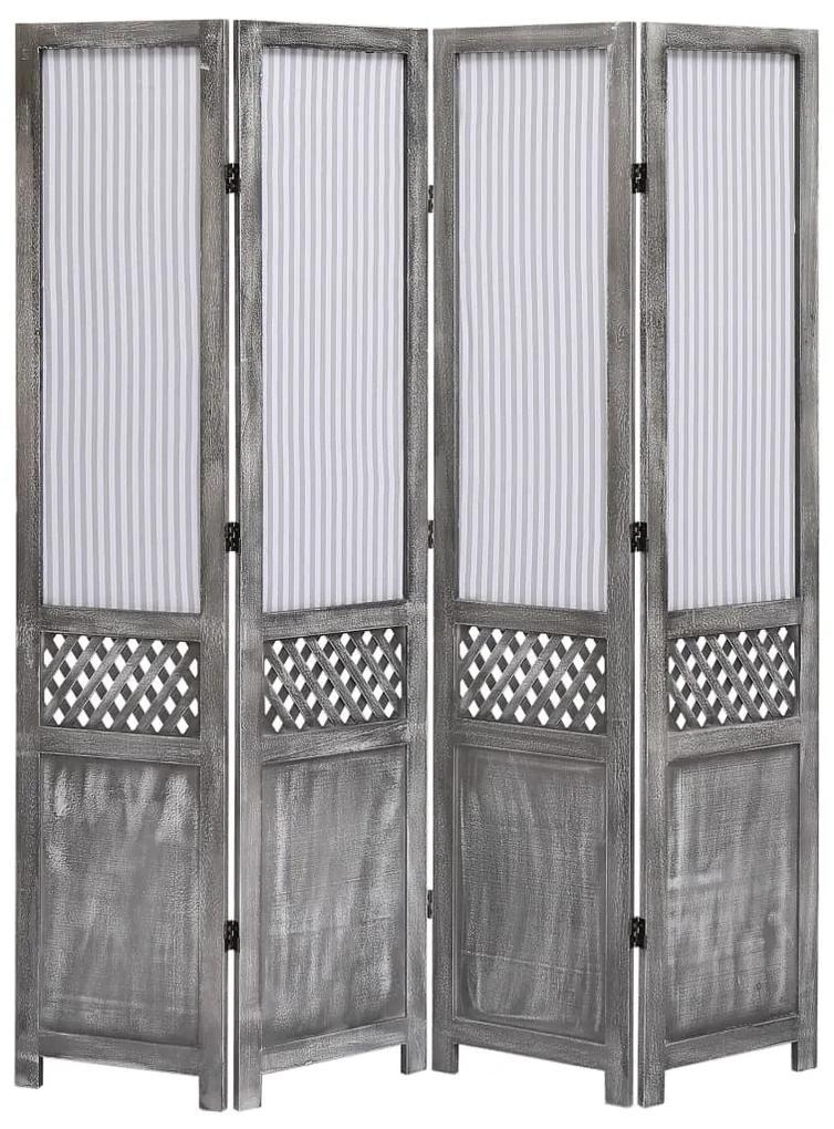 284216 vidaXL Paravan de cameră cu 4 panouri, gri, 140 x 165 cm, textil