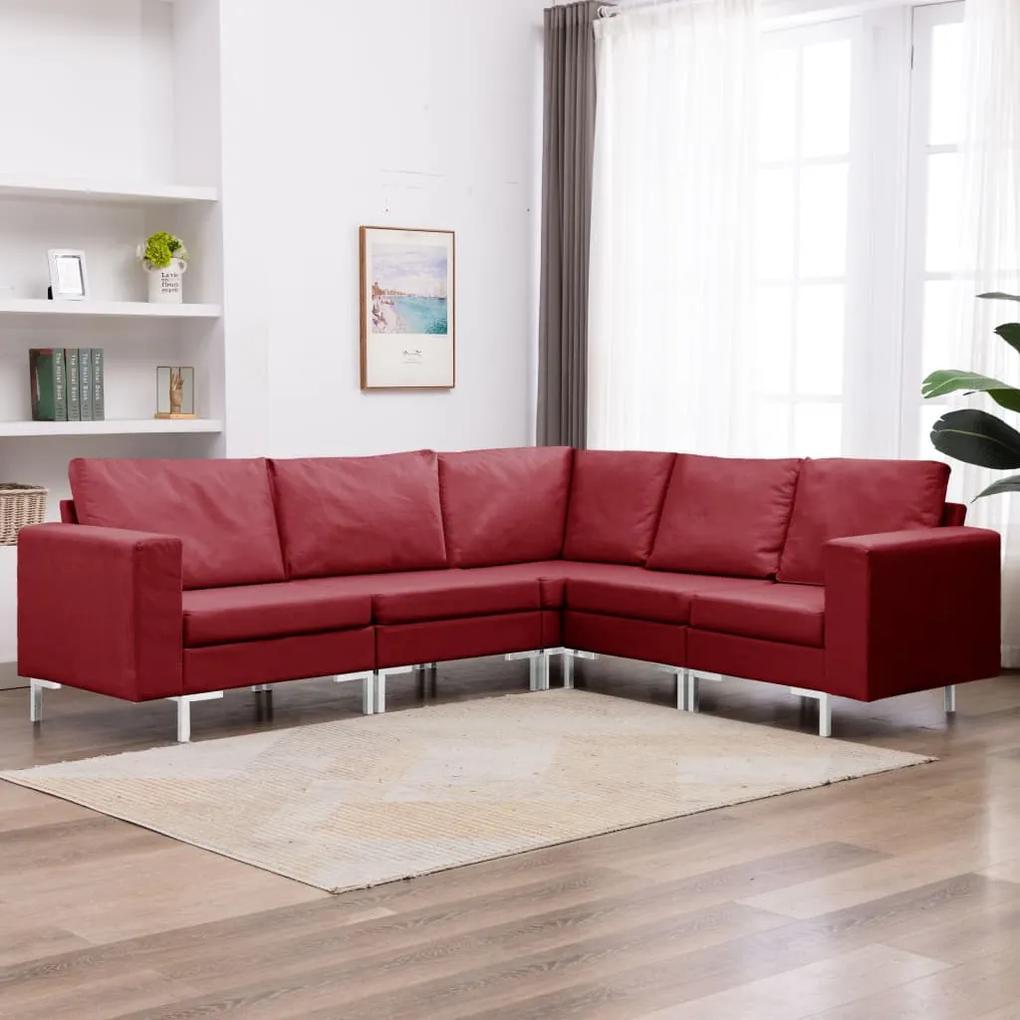 287198 vidaXL Set de canapele, 5 piese, roșu vin, material textil