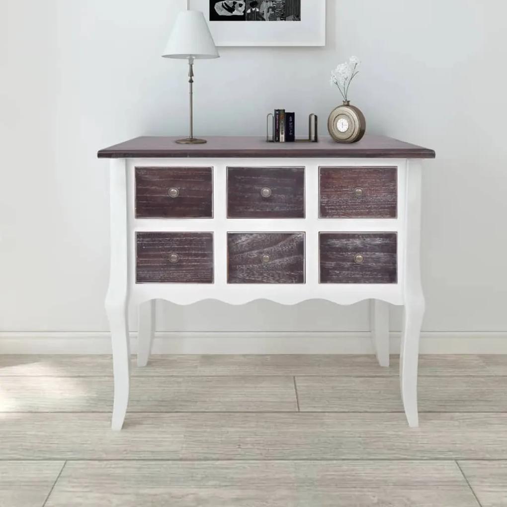 240402 vidaXL Dulap consolă cu 6 sertare, maro și alb, lemn