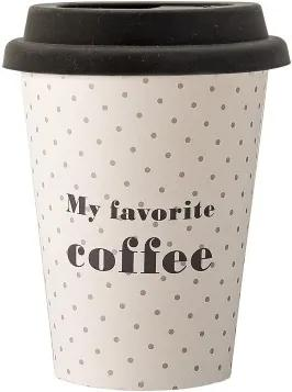 Set 8 pahare cu capac, din carton, My favorite Coffee Alb, Ø9xH11 cm