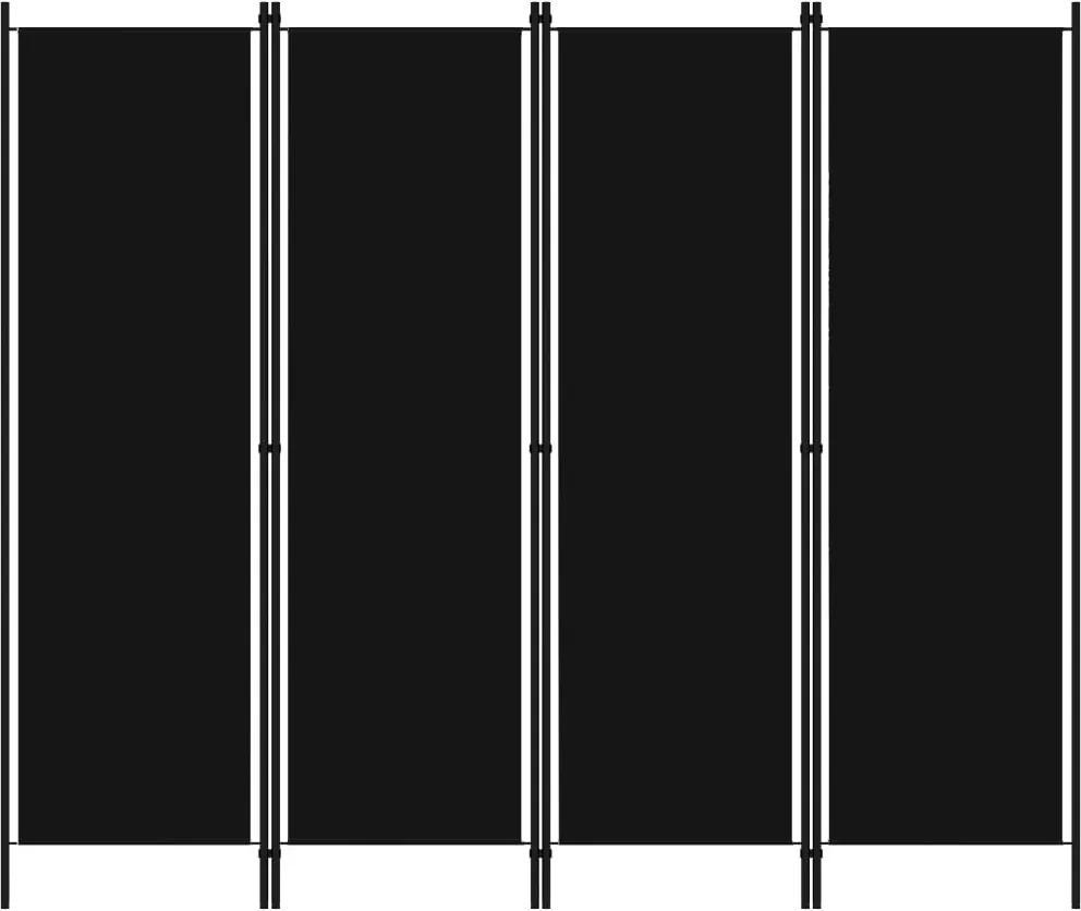 Paravan de camera cu 4 panouri, negru, 200 x 180 cm