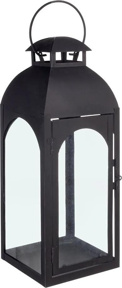 Felinar metal sticla negru Agueda 15x15x41h