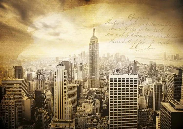 City New York Vintage Sepia Fototapet, (104 x 70.5 cm)