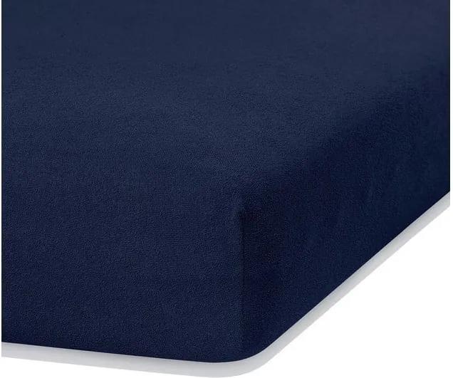 Cearceaf elastic AmeliaHome Ruby, 200 x 140-160 cm, albastru închis