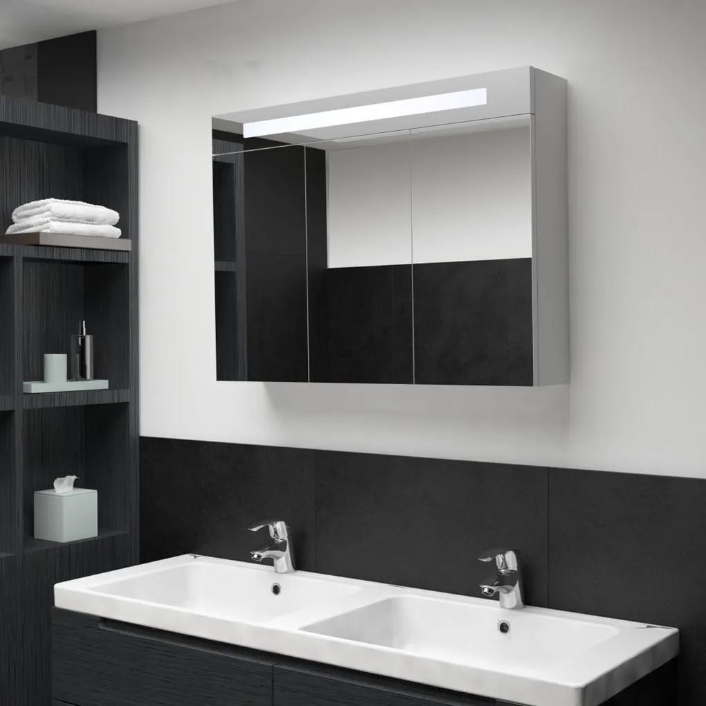 285121 vidaXL Dulap de baie cu oglindă și LED, 88 x 13 x 62 cm