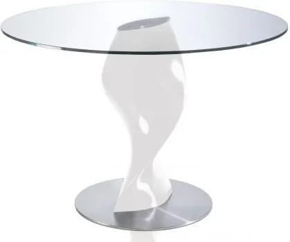 Masa cu baza din fibra de sticla Ollie, sticla transparenta 120cm