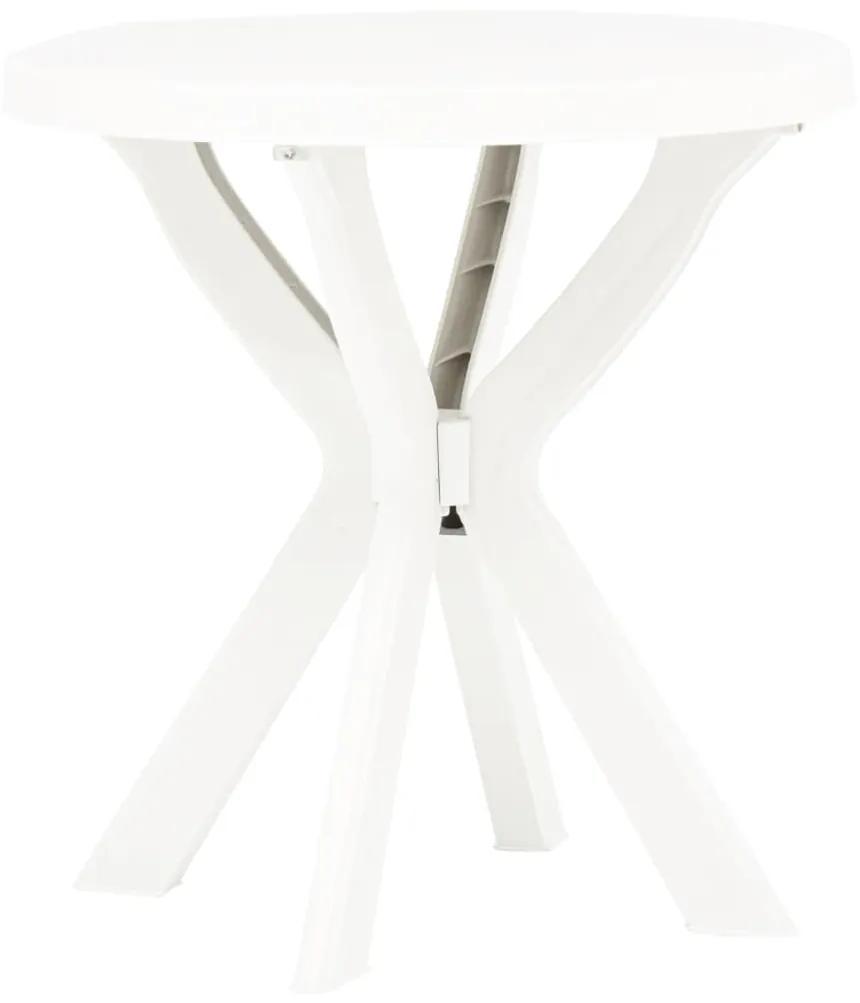 48796 vidaXL Masă de bistro, alb, Ø70 cm, plastic
