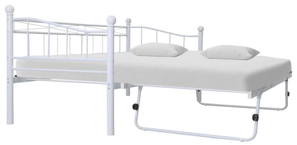 285308 vidaXL Cadru de pat, alb, 180 x 200/90 x 200 cm, oțel