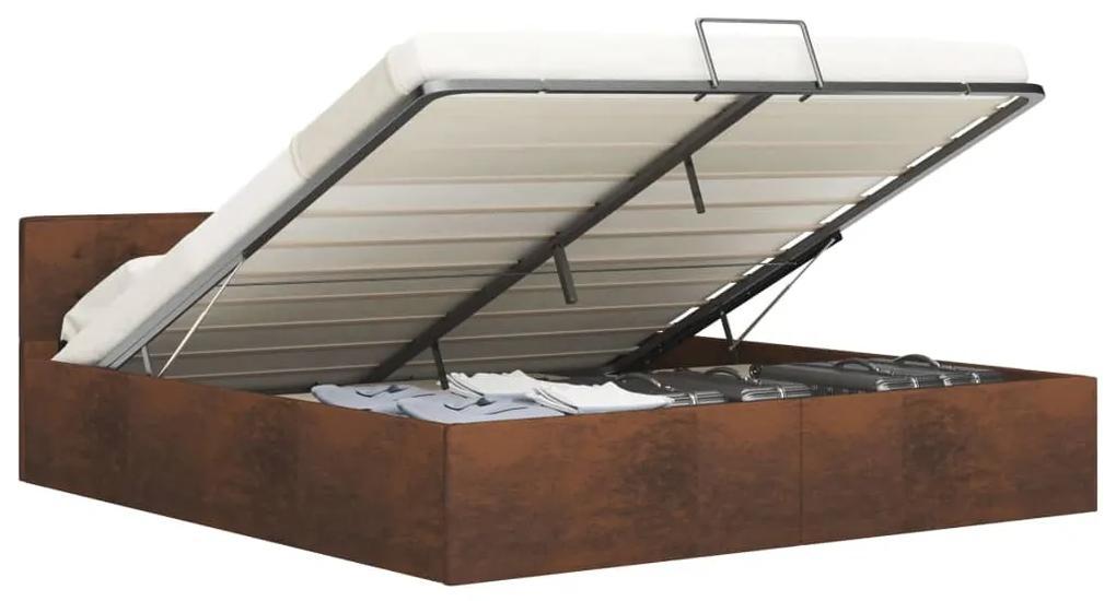 285538 vidaXL Cadru de pat hidraulic, depozitare, maro, 160 x 200 cm, textil