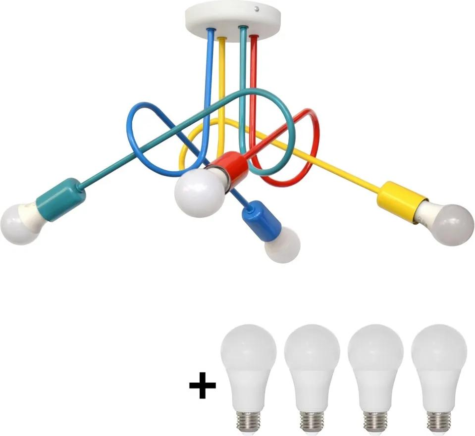 LED Lustră aplicată copii OXFORD 4xE27/10W/230V