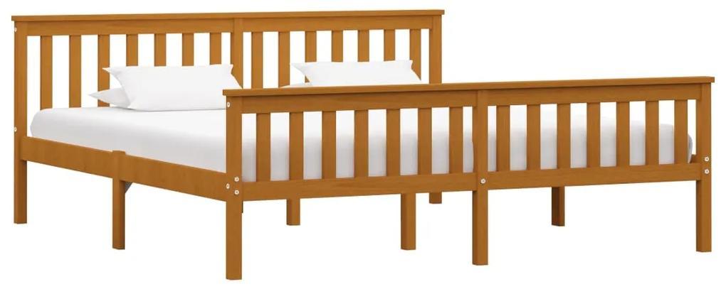 283243 vidaXL Cadru de pat, maro miere, 180 x 200 cm, lemn masiv de pin