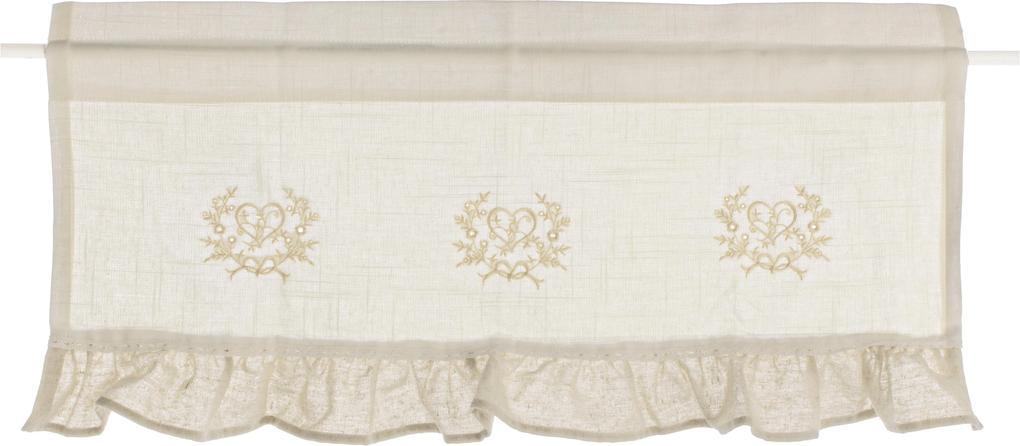 Perdea decorativa bej alb 60 cm x 45 cm