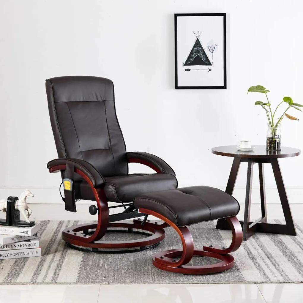 248604 vidaXL Fotoliu de masaj rabatabil cu taburet, maro, piele ecologică
