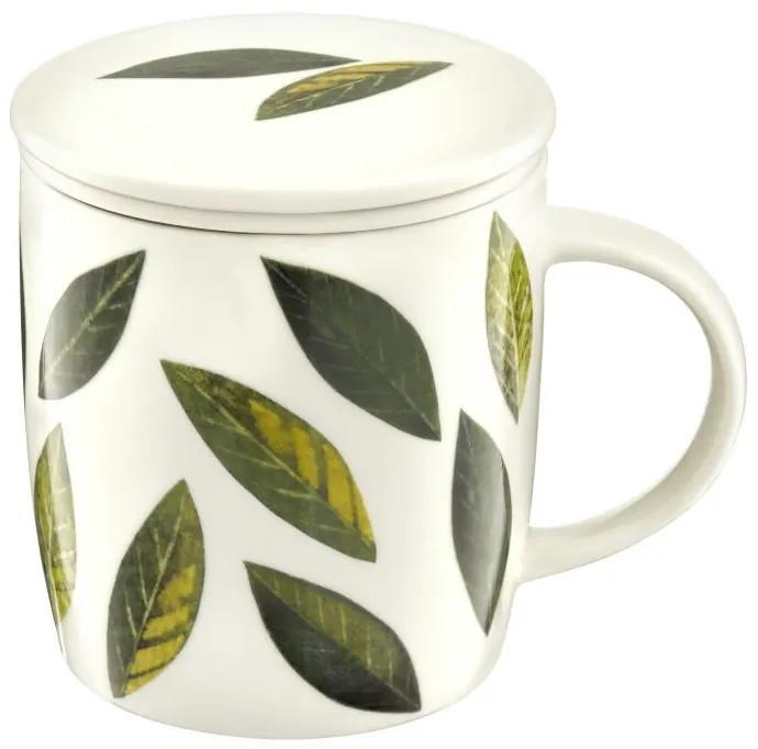 Cana cu infuzor si capac 390ml frunze verzi Herbal