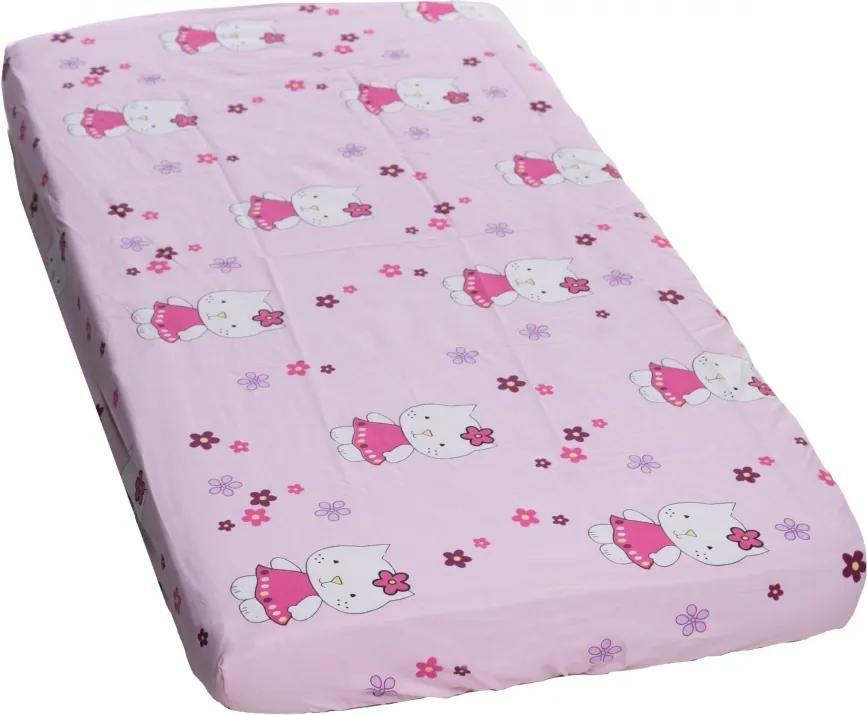 Cearceaf din bumbac cu elastic Kitty Pink 120x60 cm