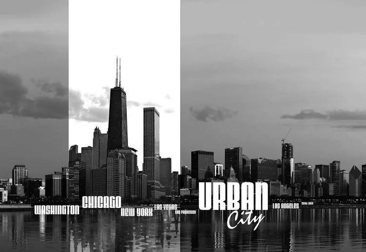 City Skyline Fototapet, (211 x 90 cm)