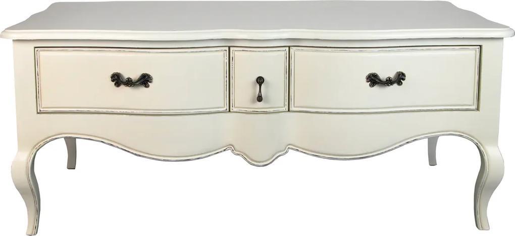 Masuta cu sertare Madame Deco din lemn crem 120x73x50 cm