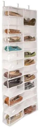 Suport pentru pantofi, montabil pe ușă, 160x55x16 cm, alb