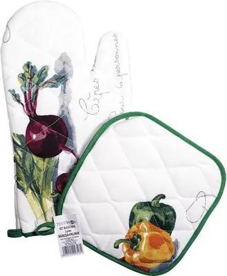 Set bucatarie, 2 piese, imprimeu legume alb/verde
