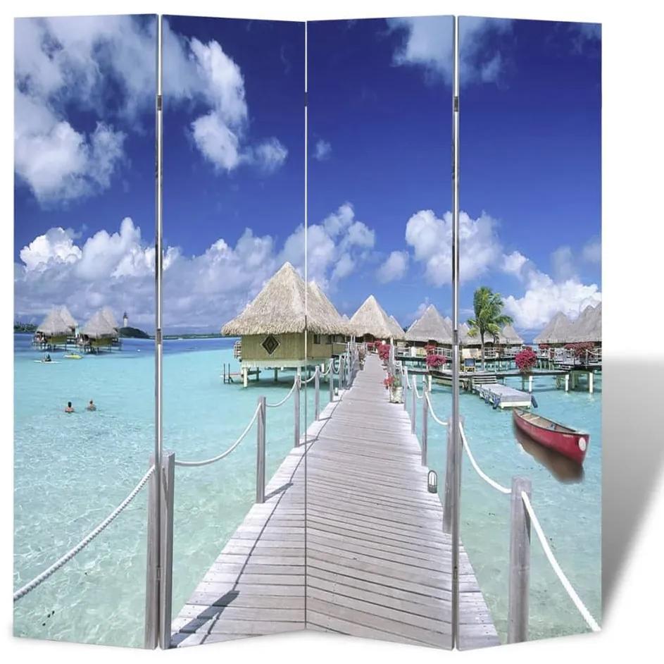 240476 vidaXL Paravan de cameră pliabil, 160 x 170 cm, plajă