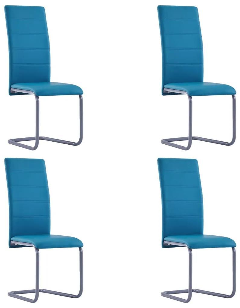 281692 vidaXL Scaune de bucătărie consolă, 4 buc., albastru, piele ecologică