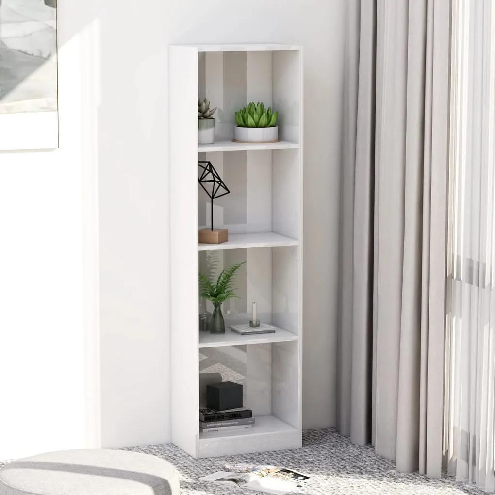 800843 vidaXL Bibliotecă cu 4 rafturi, alb extralucios, 40 x 24 x 142 cm, PAL