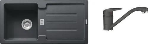 Pachet chiuveta bucatarie STG 614-78, fragranite, reversibila + baterie monocomanda Novara grafite