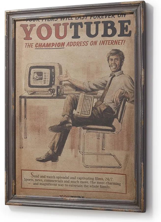 Tablou vintage cu rama gri din lemn 73x92 cm Lilou Youtube La Forma