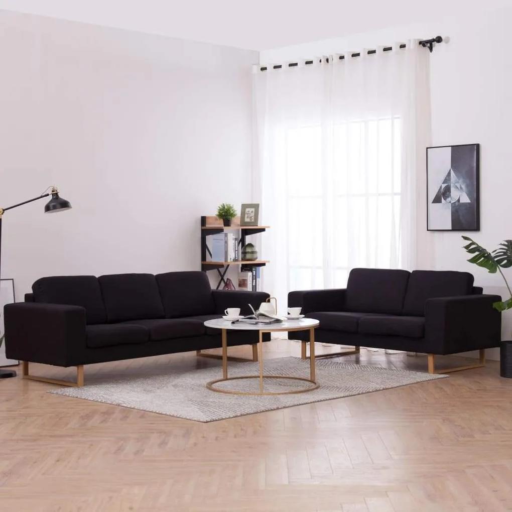 Set de canapele, 2 piese, negru, material textil