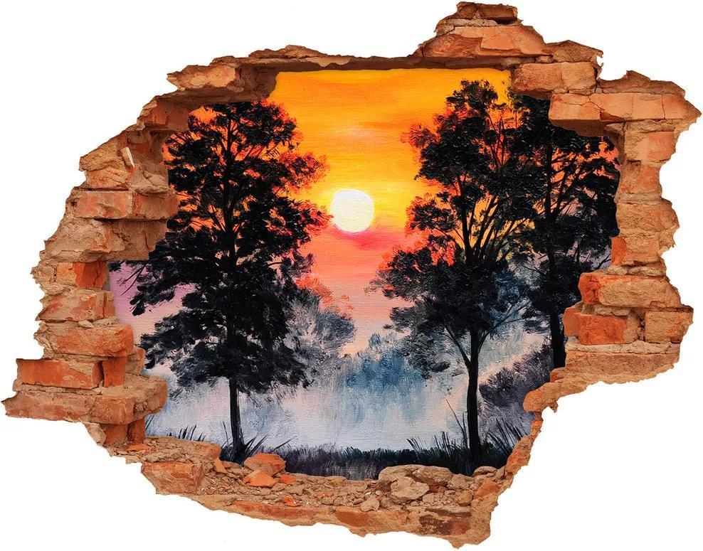 Autocolant autoadeziv gaură Pădure Apus de soare