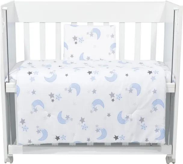 Set lenjerie 4 piese Mini Cot Blue moon white