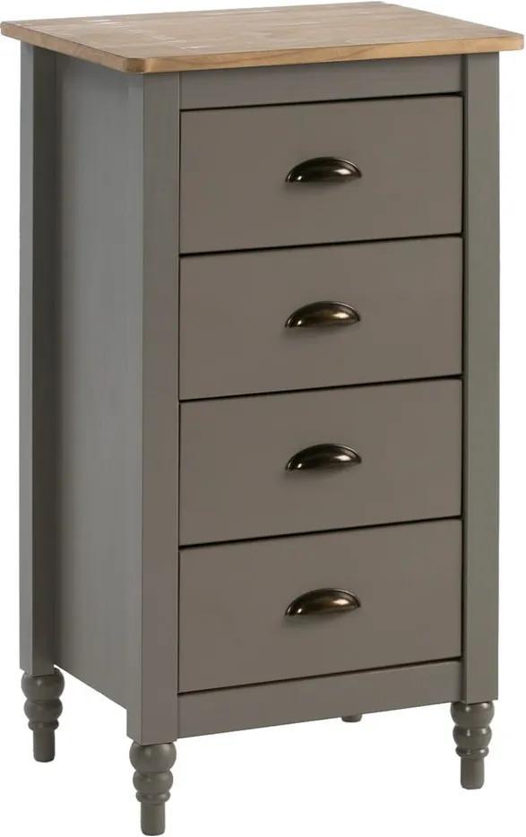Comodă cu 4 sertare din lemn masiv de pin Marckeric Joyce, înălțime 83 cm, gri