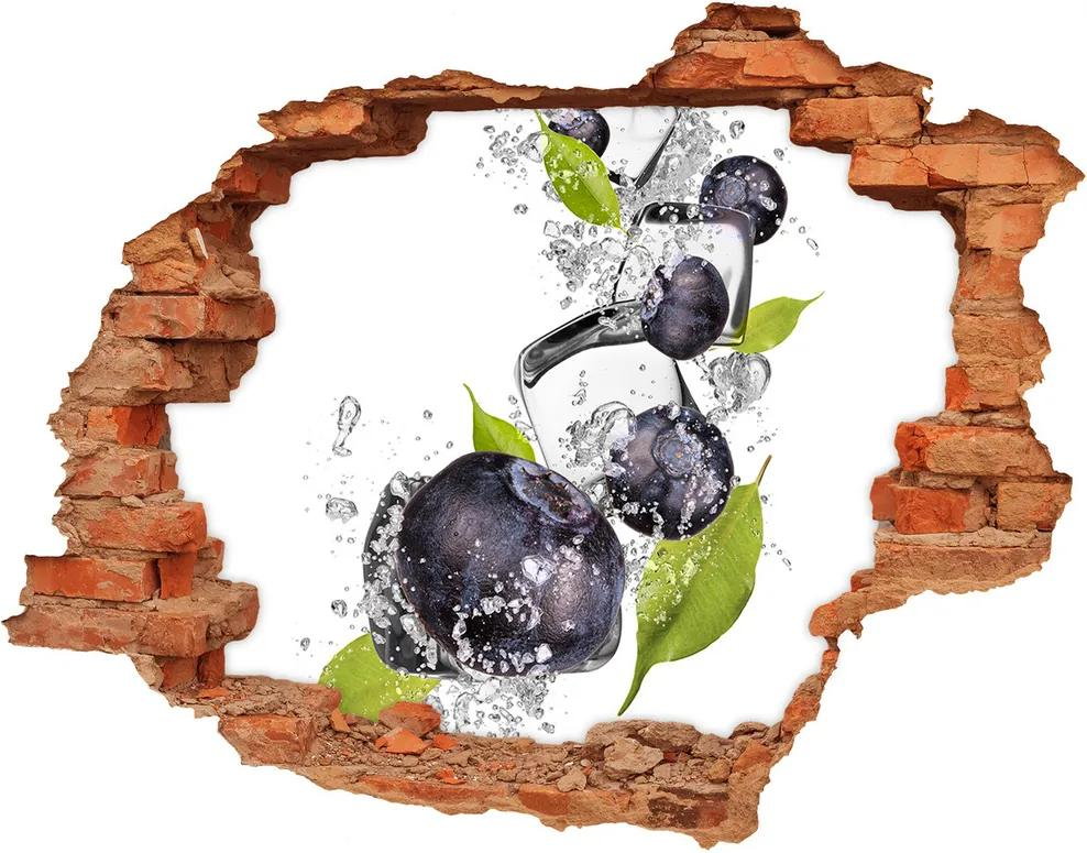 Autocolant de perete gaură 3D Fructe de padure gheata