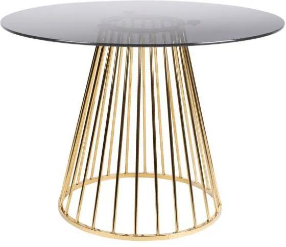Masa ovala din sticla si metal auriu Floris