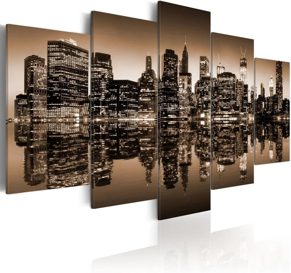 Tablou - Melancholic NYC - 5 pieces 100x50 cm