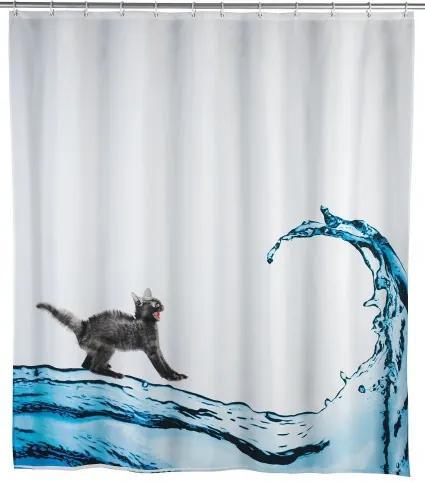 Perdea dus anti-mucegai din poliester, Cat Alb, 180 x 200 cm