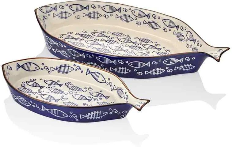 Set 2 Vase  pentru Copt Peste Albastru 33 X 45 cm