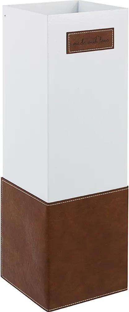 Suport umbrele metal piele ecologica alb maro Urban 16 cm x 16 cm x 48 h